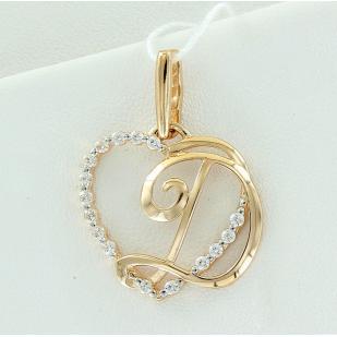 Золотая буква Д сердечко