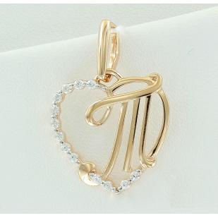 Золотая буква Т сердечко фото