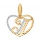 Золотое сердечко буква Т