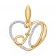 Золотое сердечко буква Ю