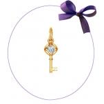 Золотая подвеска Ключ с камнем swarovski