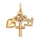 Золотая подвеска Вера Надежда Любовь