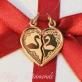 """Золотой кулон в форме сердца """"Два лебедя"""""""