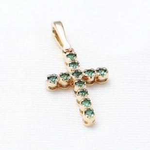 Прямой золотой крестик с изумрудами  фото