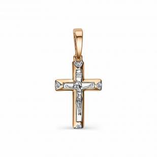 Небольшой прямой крестик с бриллиантами 34016-100 фото