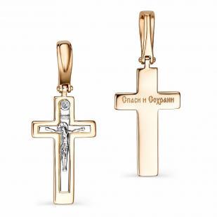 Прямой золотой крест с бриллиантом 34022-100 фото