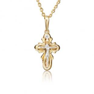 Детский крестик с бриллиантом желтое золото фото