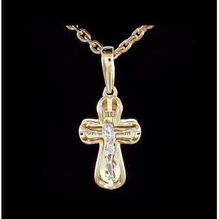 Маленький округлый крестик из желтого золота  фото