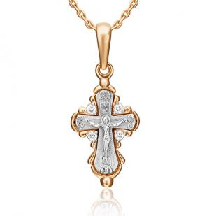 Золотой крестик с 4 бриллиантами  фото