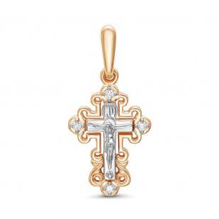 Красивый золотой крестик с 4 бриллиантами фото