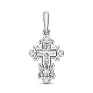 Крестик из белого золота с 4 бриллиантами фото