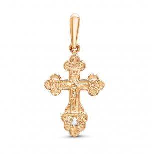 Православный золотой крестик с 1 бриллиантом фото
