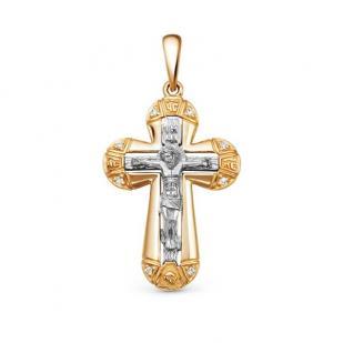 Золотой крест с бриллиантами и белым распятием фото
