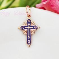 Золотой крест с синей эмалью