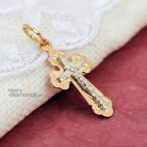 Крестик золотой с узорами