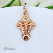 Ажурный крестик из золота с фианитами