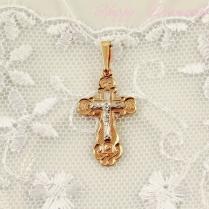 Золотой крест с белым распятием (10372)