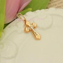 Золотой крестик для ребенка (двухцветный)