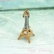 Кулон Эйфелева башня из золота с фианитами