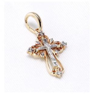 Красивый золотой крестик с бриллиантами фото