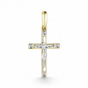 Крест из желтого золота с бриллиантами 33359-300 фото