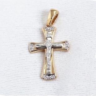 Крестик из золота с бриллиантами фото