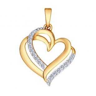 """Золотая подвеска """"Переплетение сердец"""""""