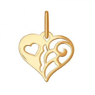 """Золотая подвеска """"Ажурное сердечко"""""""