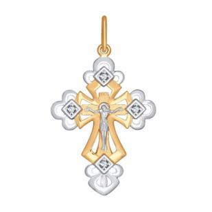 Ажурный золотой крестик с камнями