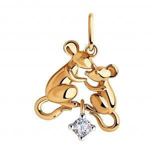 Золотая подвеска Мышата с фианитом 035693