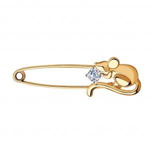 Золотая булавка Мышка с фианитом 040267