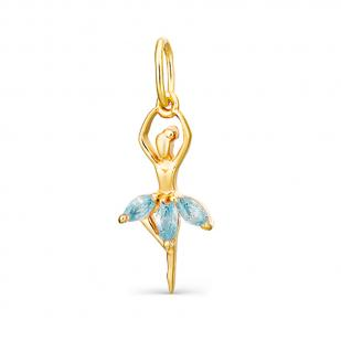 Золотая подвеска Балерина голубая юбочка