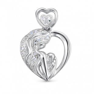 Мамино сердце золотая подвеска с бриллиантами фото