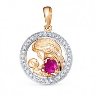 Золотая подвеска Мамочка с рубином и бриллиантами фото