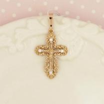 Золотой ажурный крестик с фианитами