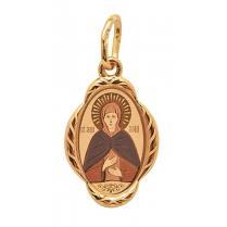 Золотая нательная иконка Святая Зоя