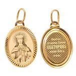 Золотая подвеска икона Святая Екатерина