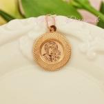 Золотая нательная иконка круглая