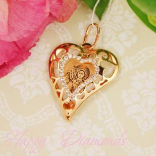 Нательная иконка сердце с фианитами