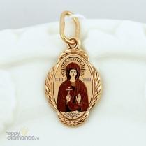 Золотая нательная иконка Святая Марина