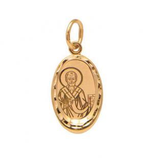 Золотая нательная икона Николай Чудотворец фото