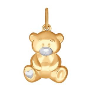 Детский золотой кулон Мишутка