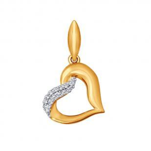 Кулон в форме сердца из золота с фианитами