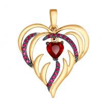 Золотая подвеска Алое сердце