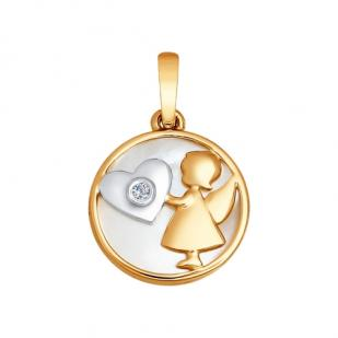 Подвеска Девочка-ангел с бриллиантом фото