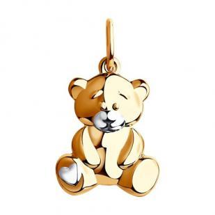 Детский золотой кулон Мишутка фото