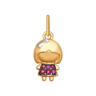 Золотая подвеска с девочкой 035419