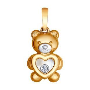 Золотая подвеска Медвежонок 1030583 фото