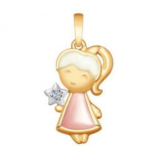 Золотая подвеска Девочка со звездочкой 1030701