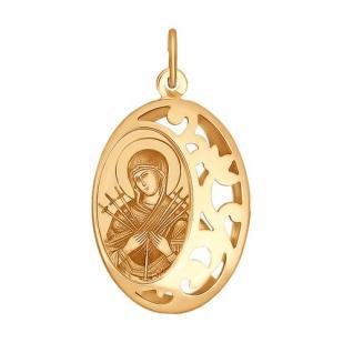 Золотая икона Семистрельная БМ арт 104114